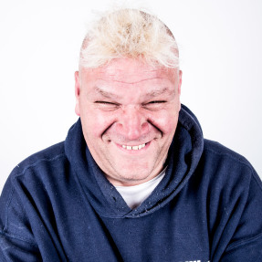 Kevin - name changed - one of our service users. Middle aged white man with a shock of blond hair, smiling