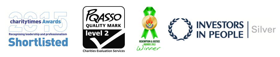 Award logos - shortlisted for Charity Times Award 2015, achieved PQASSO Level 2, Redemption and Justice Award Winner 2013 and achieved Investors in People Silver