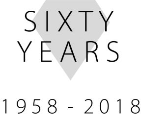 Grey diamond shape with the words 'Sixty Years' overlaid over it and the years 1958-2018