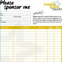 Picture of Langley sponsorship fom with 'Please sponsor me' in large italic font sitting at the top of the page