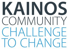 Kainos Community logo - the words 'Kainos Community' sit above the words 'Challenge to Change' which is Kainos' behaviour change programme