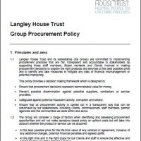 Front page of Langley's Group Procurement Policy detailing out our principles and aims when procuring services