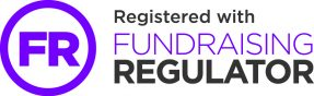 The letters FR surrounded by a circle next to the words 'Registered with Fundraising Regulator'