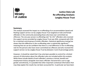 Front page of Ministry Justice report about Justice Data Lab results for Langley House Trust looking at the impact on reducing reoffending