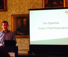 Jon Sparkes, CEO of Crisis, speaking at the Sharing Solutions conference on 26th March 2015