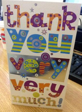 Thank you card to a Langley project from a resident who can now read through a Toe by Toe reading scheme run at the project.