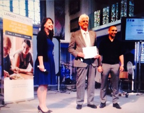 Staff winning an award at Langley Staff Conference 2015