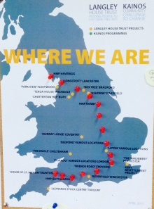 Map of England showing the locations of different projects - the distance between the projects was cycled as part of the Bikeathon