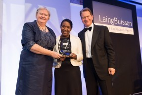 Tracy Wild (CEO) and Pamela Leonce (Corporate Operations Director) receiving the LaingBuisson Risk Management Award from Michael Portillo, LaingBuiisson's host