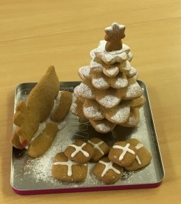 Entry into Langley Bake Off 2015 - a Christmas tree made out of gingerbread with a gingerbread star on top, plus a gingerbread sleigh and presents.