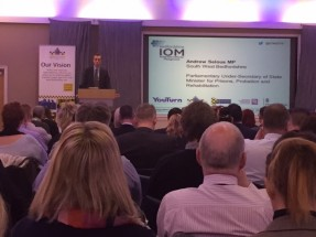 Andrew Selous, Minister for Prisons, Probation and Rehabilitation, addressing a packed audience at the National Integrated Offender Management Conference, 2016