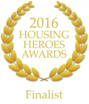 2016 Housing Heroes Award - finalist logo - two strands of golden laurel leaves surrounding the text