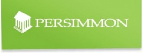 Logo for Persimmon Homes - picture of a columned house and white writing saying 'Persimmon' on a green background