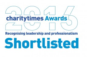 Charity Times Award 2016 logo - recognising leadership and professionalism - shortlisted