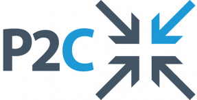 The letters P2C (representing Pathways to Change) pictured next to four inward facing arrows