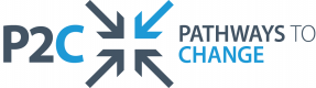 The letters 'P2C' next to 4 arrows, pointing inwards. The top right hand arrow is lighter than the other arrows. The full words 'Pathways to Change' are to the right of the arrows