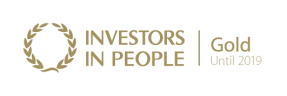 Investors in People Gold logo - the words 'Investors in People' are in gold text, to the right of a gold laurel. The Gold status is in place until 2019