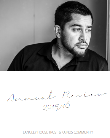 Front cover of Langley and Kainos Annual Review 2015-16. Young man with dark hair gazing out to one side