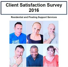 Front page of the client satisfaction survey 2016 - showing the words 'Client Satisfaction Survey 2016 - Residential and Floating Support Services'. Beneath the text there is a grid of pictures showing a staff member and a number of former clients