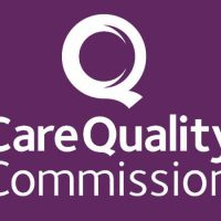 Care Quality Commission logo - the words 'Care Quality Commission' written in white on a dark purple background. Above the words is a large 'Q' to represent the importance of 'quality'