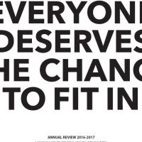Front cover of Langley Annual Review 2016-17 - white background with dark text saying 'Everyone deserves the chance to fit in'. Only the words 'to fit in' are fully shown on the page