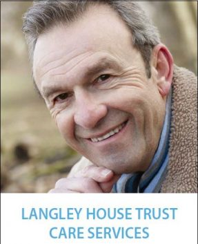 Front cover of Langley's Care Services Brochure. Older white man, wearing a warm jacket, with his head resting on his chin
