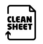 Clean Sheet logo - simply the words 'Clean Sheet' with an arrow