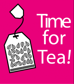 A poster saying 'Time for Tea' and an invitation tag sitting alongside it