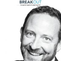 Front cover of supporter magazine, Breakout, Sept - Nov 2017. Man with dark hair and beard, smiling