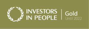 Investors in People Logo - white lettering on a Gold background. Langley will hold the Gold award until 2022